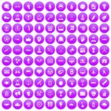 100 victory icons set purple. 100 victory icons set in purple circle isolated on white vector illustration royalty free illustration