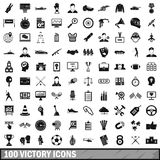 100 victory icons set, simple style. 100 victory icons set in simple style for any design vector illustration Stock Photos