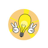 Victory idea icon. Good idea lamp icon victory of creativity Stock Photo