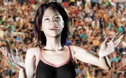 Victory joy of a sportswoman Stock Image