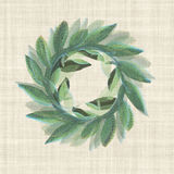 Victory  Laurel Welcome Wreath i. Textured  Welcome wreath classic on a linen ground Stock Photo