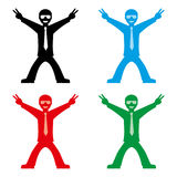Victory man. Man joyously throws his hands up showing victory or peace sign vector illustration