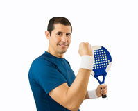 Victory. Man celebrating victory on the paddle tennis with white background Stock Image