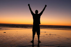Victory Man in Sunset Stock Photography