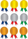 Victory Medal with colorful ribbons. Vector gold, silver and bronze victory Medal with colorful ribbons Royalty Free Stock Image
