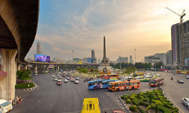 Victory monument Bangkok, Thailand. Bangkok, Thailand - Mar 23, 2016: view over the Victory Monument area, one of the central transport hubs in Bangkok City, on Stock Image