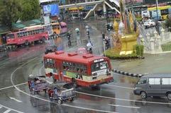 Victory Monument gatasikt i Thailand royaltyfri bild