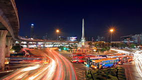 Victory monument with light trail on street at dusk Stock Photography