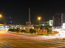 Victory Monument at night in Thailand Stock Image