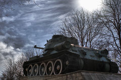 Victory Monument. Soviet tank T-34, located in the park of veterans in Kaluga. It is a key element of the Monument to the tanks involved in the battles of World royalty free stock photo