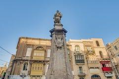 Victory Monument at Vittoriosa Square in Birgu, Malta. Statue that commemorates the Great Siege of 1565 known as the Victory Monument at Vittoriosa Square in stock photos