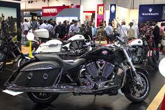 Victory motorcycle black. Dubai, UAE - NOVEMBER-14-2011: Victory motorcycle black on display at the Dubai Motor Show, UAE Stock Images