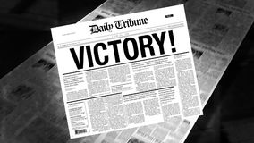 Victory! - Newspaper Headline stock footage