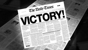 Victory! - Newspaper Headline stock video