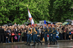 Victory Parade à Donetsk Défilé militaire consacré au soixante-dixième Photo libre de droits