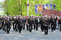 Victory parade. Seamen on the Victory Parade. May 9th, 2011 Kaliningrad Royalty Free Stock Images