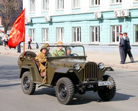 Victory Parade 2009. CHELYABINSK, RUSSIA - MAY 9: Command car GAZ-67B is exhibited at the annual Victory Parade on May 9, 2009 in Chelyabinsk, Russia Stock Photography