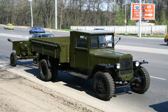 Victory Parade 2010. Soviet army truck GAZ-AA takes part at the dress rehearsal of Victory Parade on May 4, 2010 in Ufa, Russia Stock Photos
