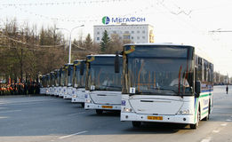 Victory Parade 2010. Buses for conveyance of veterans of World War II takes part at the dress rehearsal of Victory Parade on May 4, 2010 in Ufa, Russia Stock Photography