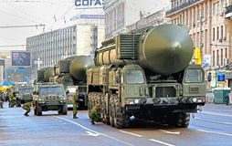 Victory parade 2012. MOSCOW, RUSSIA - MAY 6: Intercontinental ballistic missiles Topol-M exhibited at the annual Victory day Parade dress rehearsal on May 6 Stock Image