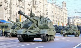Victory parade 2012. Mobile self-propelled heavy artillery 2S19 Msta-S exhibited at the annual Victory day Parade dress rehearsal on May 6, 2012 in Moscow Royalty Free Stock Image