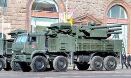 Victory parade 2012. MOSCOW, RUSSIA - MAY 6: Combined missile and anti-aircraft artillery weapon system Pantsir-S1 exhibited at the annual Victory day Parade Royalty Free Stock Image
