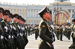 Victory parade. Military victory parade which have passed on May, 9th, 2008 on Palace Square of St.-Petersburg, Russia Royalty Free Stock Images