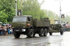 Victory Parade in Donetsk Militaire parade gewijd aan de zeventigste Stock Foto's