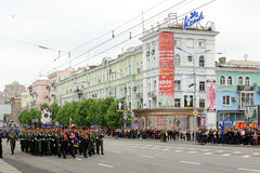 Victory Parade in Donetsk. Military parade dedicated to the 70th Royalty Free Stock Images