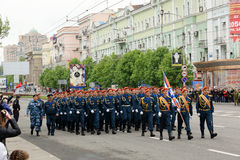 Victory Parade in Donetsk. Military parade dedicated to the 70th Stock Photography