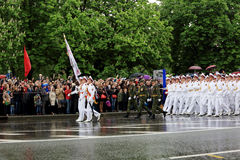 Victory Parade in Donetsk. Military parade dedicated to the 70th Royalty Free Stock Photo