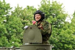 Victory Parade em Donetsk Parada militar dedicada ao 70th Imagem de Stock