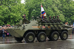 Victory Parade en Donetsk Desfile militar dedicado al 70.o Foto de archivo libre de regalías