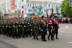 Victory Parade en Donetsk Desfile militar dedicado al 70.o Imágenes de archivo libres de regalías