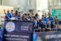 The victory parade of an English Football Club Leicester City, the champion of the 2015 - 2016 English Premier League Royalty Free Stock Photos