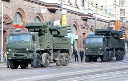 Victory parade 2012. MOSCOW, RUSSIA - MAY 6: Combined missile and anti-aircraft artillery weapon system Pantsir-S1 exhibited at the annual Victory day Parade Royalty Free Stock Photography