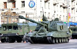 Victory parade 2012. MOSCOW, RUSSIA - MAY 6: Mobile self-propelled heavy artillery 2S19 Msta-S exhibited at the annual Victory day Parade dress rehearsal on May Stock Photography
