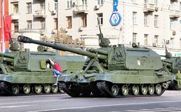 Victory parade 2012. MOSCOW, RUSSIA - MAY 6: Mobile self-propelled heavy artillery 2S19 Msta-S exhibited at the annual Victory day Parade dress rehearsal on May Royalty Free Stock Images