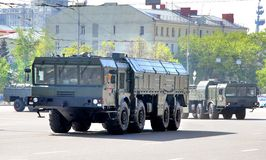 Victory parade 2012. MOSCOW, RUSSIA - MAY 6: Mobile theater ballistic missile system 9K720 Iskander exhibited at the annual Victory day Parade dress rehearsal on Stock Image