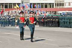 Victory Parade nella città di Orenburg, Russia Fotografia Stock Libera da Diritti