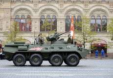 Victory Parade in Red Square to commemorate 72th anniversary of capitulation of Nazi Germany. BTR-82A Armoured Personnel Carrier. MOSCOW, RUSSIA - MAY 9, 2017 Royalty Free Stock Image