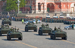 Victory parade rehearsal: BTR-80 APCs. MOSCOW - MAY 6: a column of BTR-80 APCs marches during rehearsal of parade in honor of WWII Victory on May 06, 2012 in Stock Images