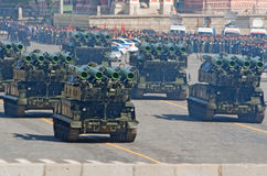 Victory parade rehearsal: Buk-M2 SAM launchers. MOSCOW - MAY 6: Buk-M2 mobile anti-air missile launchers move through Vasilyevsky descend during rehearsal of Stock Photos