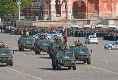 Victory parade rehearsal: GAZ-2330. MOSCOW - MAY 6: a column of GAZ-2330 Tigr high mobility vehicles marches through Vasilyevsky descend during rehearsal of Royalty Free Stock Photo