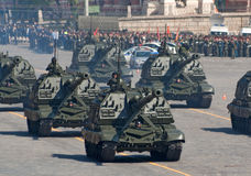 Victory parade rehearsal: Msta-S artillery. MOSCOW - MAY 6: a column of 2S19 Msta-S self-propelled artillery units move through Vasilyevsky descend during Royalty Free Stock Image