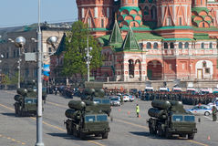 Victory parade rehearsal: S-300 SAM launchers. MOSCOW - MAY 6: S-300 mobile anti-air missile launchers move through Vasilyevsky descend during rehearsal of Stock Photo