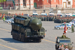 Victory parade rehearsal: Topol-M launcher. MOSCOW - MAY 6: Topol-M (SS-27 Sickle) mobile ICBM launcher moves through Vasilyevsky descend during rehearsal of Royalty Free Stock Photo