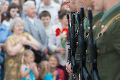 Victory parade. Soldiers on the Victory Parade Royalty Free Stock Photography