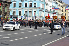 Victory parade in St.Petersburg. St. Petersburg, Russia - May 9, 2012: Veterans of the Second World War on Victory parade Stock Images