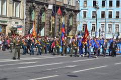 Victory parade in St.Petersburg. St. Petersburg, Russia - May 9, 2012: Veterans of the Second World War on Victory parade Stock Photo